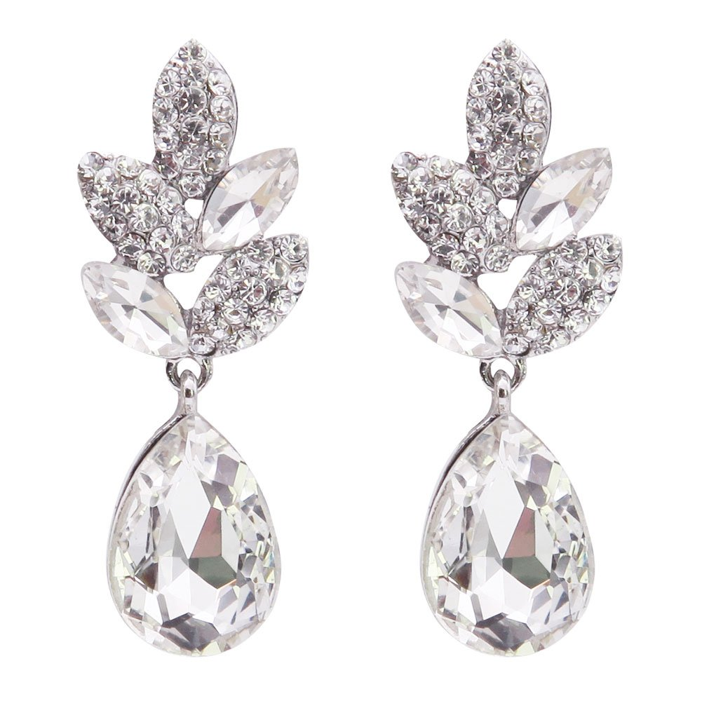 TTjewelry Bride Wedding Teardrop Leaf Clear Rhinestone Crystal Dangle Earrings Silver Tone