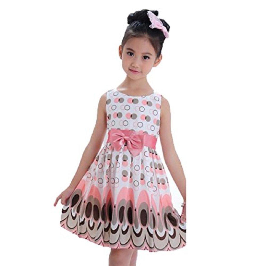 8dfb9ae1ae825b Internet New Kids Girls Bow Belt Sleeveless Bubble Peacock Dress Party  Clothing for 3-7 Years Old: Amazon.co.uk: Clothing