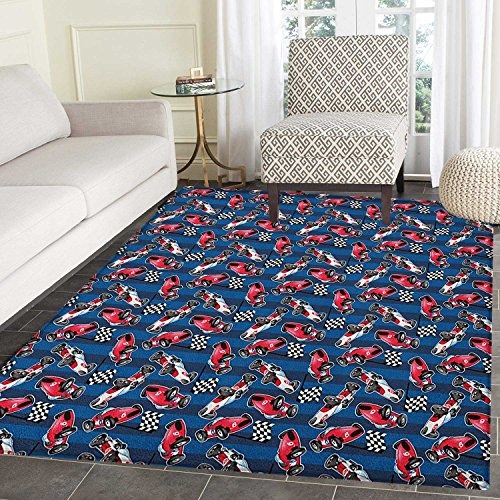 Cars Non Slip Rugs Vintage Racing Cars on Blue Stripes with
