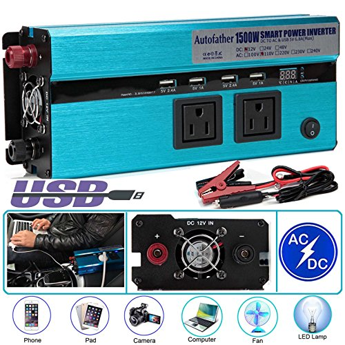 1500W Watt Power Inverter DC 12V to AC 110V Converter Digital Display for Car, Truck, RV,Pickup,4WD