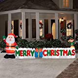 12 Ft. Long Outdoor Inflatable Merry Christmas Sign w/ Santa Clause & Elf   Great Lawn or Yard Holiday Decor w/ Light   Perfect Accent to Other Seasonal Ornaments