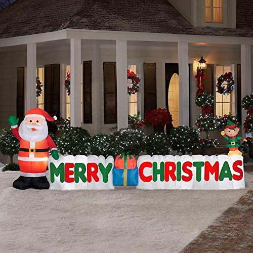 12 Ft. Long Outdoor Inflatable Merry Christmas Sign w/ Santa Clause & Elf | Great Lawn or Yard Holiday Decor w/ Light | Perfect Accent to Other Seasonal -