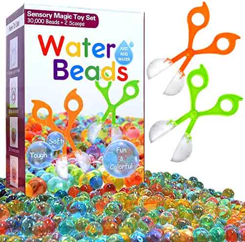 COMISU Water Beads for Kids Fine Motor Skills Toy Set 30,000 Water Growing Balls with 2 Scoops (Random Color) Jelly Orbeez Beads Tactile Sensory Toys for Kids