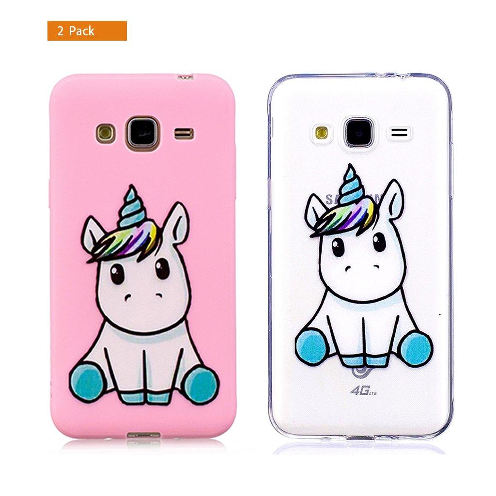 E-Flamingo [2 Pack] Funda Samsung Galaxy J7 2016 Unicornio Blanco Claro Transparente Suave Flexible Silicona Gel Bumper Cover Inquebrantable Carcasa ...