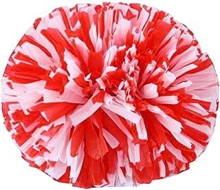 Black Temptation 14 Pouces Cheerleading Flower Ball Poms Cheerleading Accessoires de compétition, Rouge et Blanc