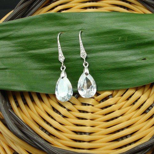 usongs Chuang Ya 925 sterling silver ear hook -type white zircon crystal earrings one pair
