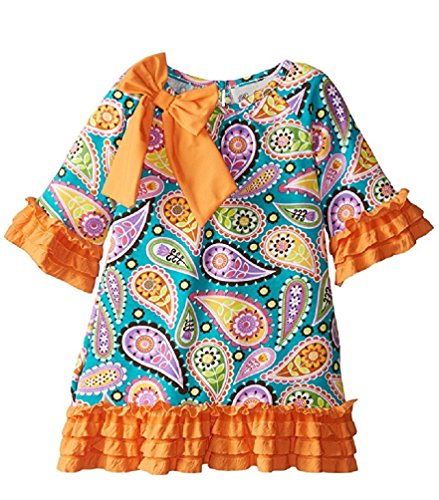 Rare Editions Little Girls' Paisley Print Knit Dress, Teal, 7 ()