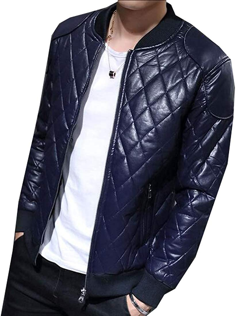 Fensajomon Mens Thick Faux Pu Solid Zip Front Down Quilted Coat Jacket Outwear