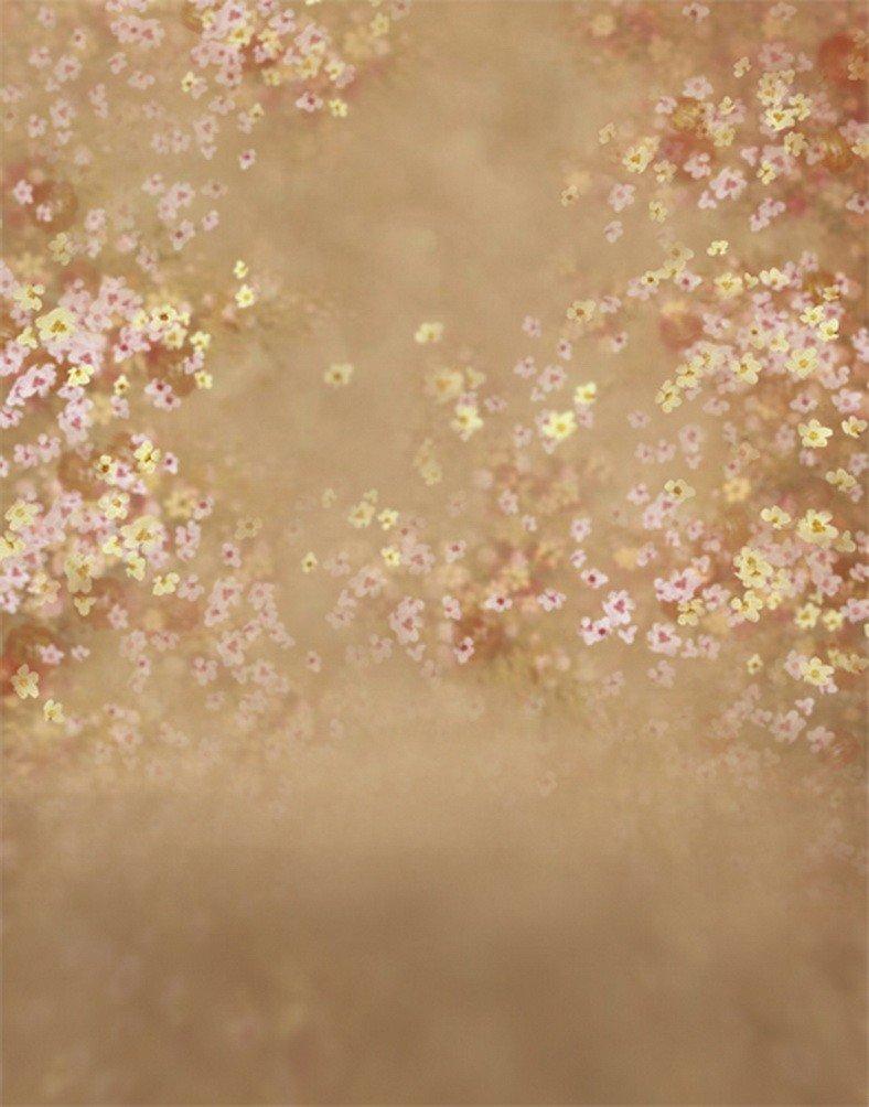 A MonamourヴィンテージMottledフローラル花印刷5 x 7ftファブリックビニール写真背景ブラウン花柄背景   B01N6BM0YT