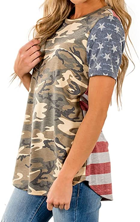 Hot Summer Women Short Sleeve Camouflage T-shirts American Flag Pocket Casual
