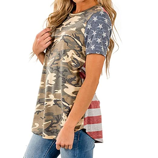 7a4c2114 Inverlee Womens Camouflage American Flag Print Casual Short Sleeve Tee Tops  Blouse T-Shirt (