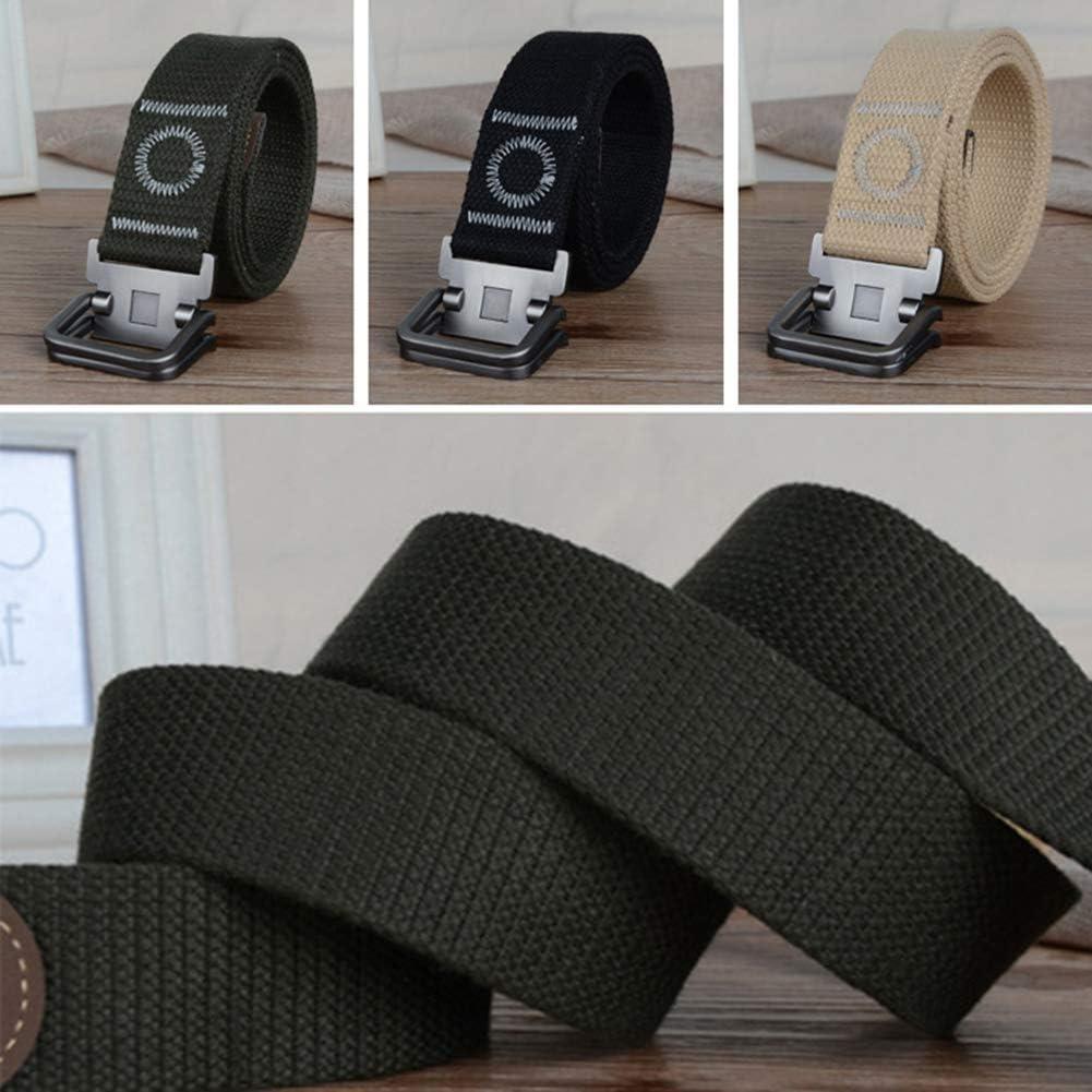 yingyue Fashion Casual Canvas Adjustable Mens Belt Waist Band 47 inch 3.8cm Black