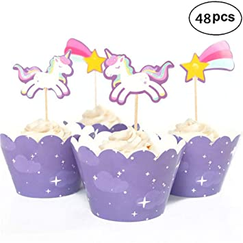 Rainbow Unicorn Cupcake Toppers And Wrappers For Birthday Party Supplies Cake Food Decorations Double Sided