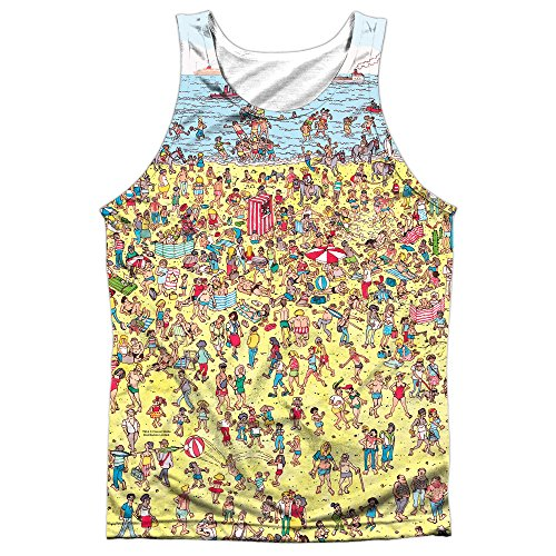 Trevco Where's Waldo Beach Scene Unisex Adult Front Print Sublimated Tank Top for Men and ()