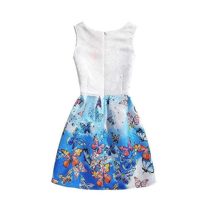 SuoLaKeXi - Vestido de fiesta para niña, diseño de flores y mariposas, tallas 5-10 años azul azul 6 Años: Amazon.es: Ropa y accesorios