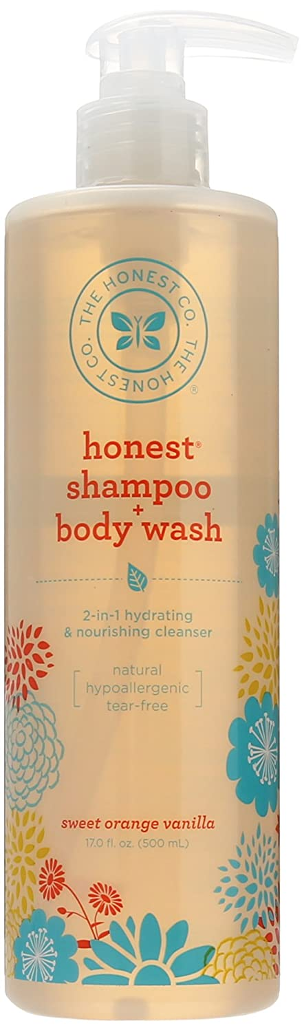 The Honest Company Sweet Orange Vanilla Shampoo & Body Wash with Pump, 17-ounce (Pack of 2)