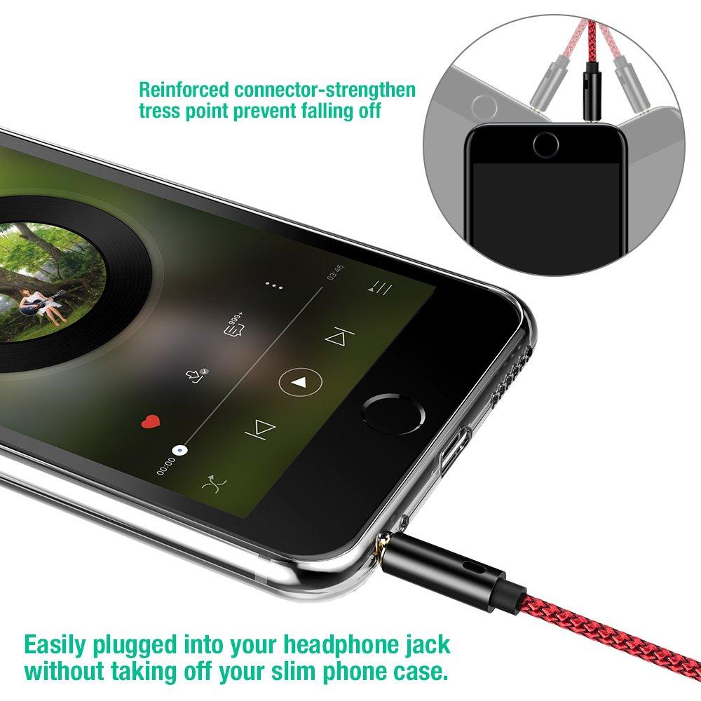 Heim//KFZ Stereoanlagen Echo Dot Lebenslange Garantieserie Klinkenkabel f/ür Kopfh/örer iPhone iPod iPad 2 St/ück Aux Kabel,Snowkids 3.5mm Audio Kabel- 1.2m Klinkenkabel/ Rot Smartphones,MP3 Player