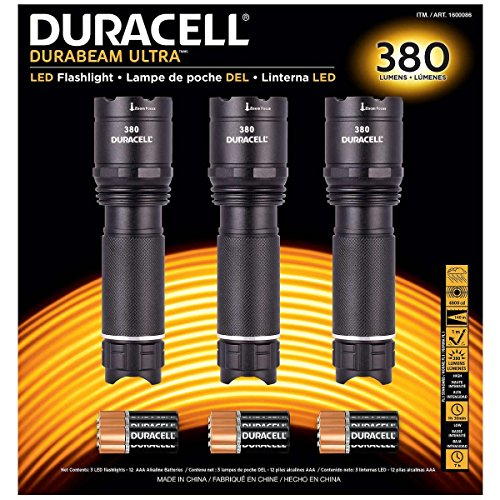 Duracell Durabeam Ultra Tactical High-Intensity Compact LED Flashlight, 3-Pack (380 Lumens, 3PK - Flashlight Black Duracell