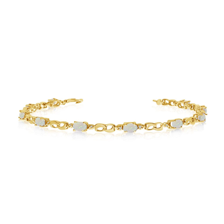 10K Yellow Gold Oval Opal and Diamond Link Bracelet