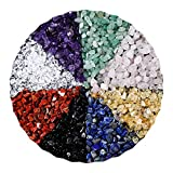 Chip Stone Beads Turquoise 5-8mm About 280-420 Pieces Irregular Gemstones Healing Crystal Loose Rocks Bead Hole Drilled DIY for Bracelet Jewelry Making Crafting (5-8MM, 7 Chakra Color Mix)