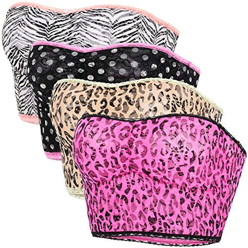 Women's Strapless Longline Stretch Bandeau Bra Padded Tube Top, 4 Pack Set (Style Bandeau Wild)