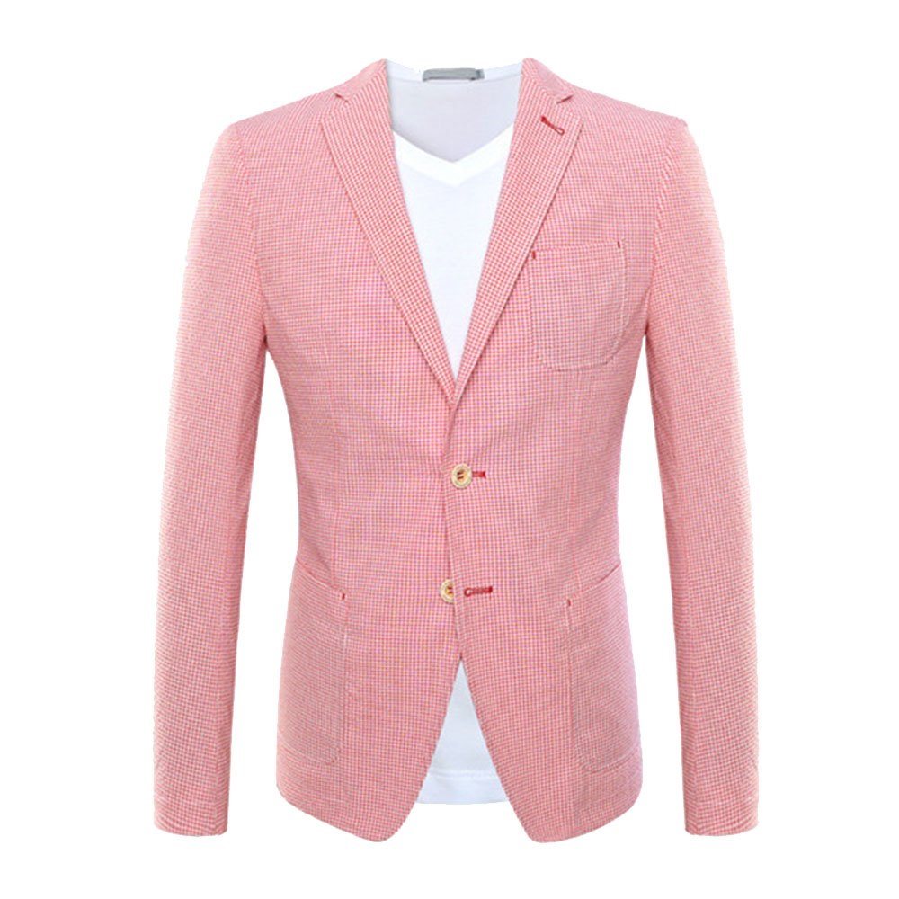 EVEDESIGN Men's Premium Two Button Blazer Jacket Slim Fit Pink Plaid Suit Jacket Coat M_0613TopSuit09