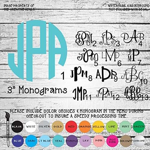Amazoncom Monogram Letters Vinyl Die Cut Decal Sticker For - Monogram car decal amazon