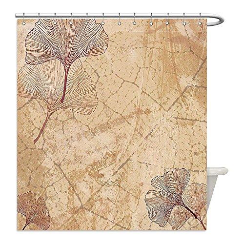 Liguo88 Custom Waterproof Bathroom Shower Curtain Polyester Beige Decor Small Large Ginkgo Leaves Pattern Dramatic Dated Fossil Maidenhair Tree Nature Art Print Decor Beige Brown Decorative (Maidenhair Shell)