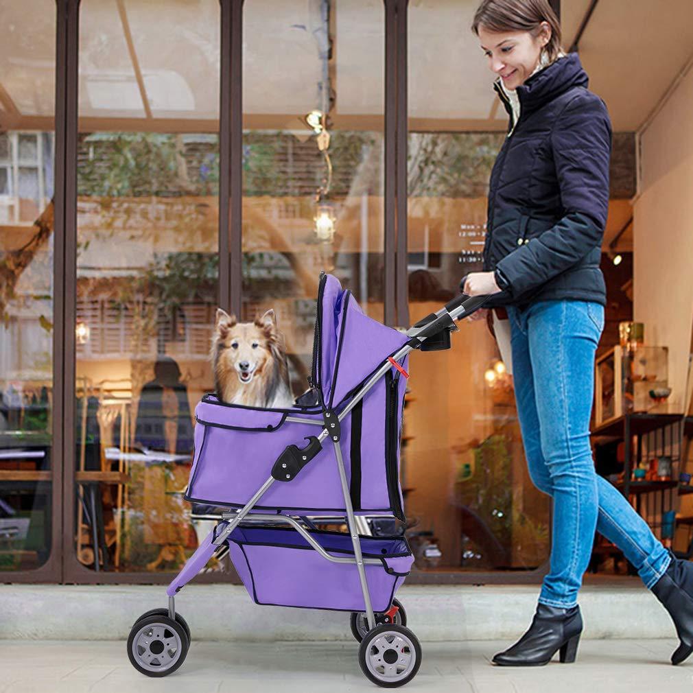 Purple Pet Stroller Cat Dog Cage 3 Wheels Stroller Travel Folding Carrier T13