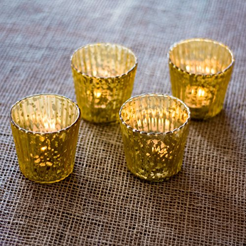 Luna Bazaar Gold Caroline Mercury Glass Candle Holder Set of 4