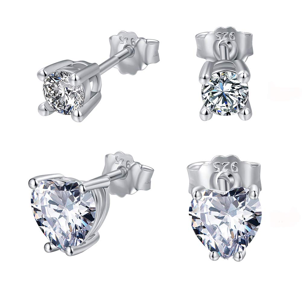 4mm Round Cubic Zirconia Stud Earrings 7mm Heart Earring White Gold Plated Hypoallergenic for Women Girls(2 Pairs)