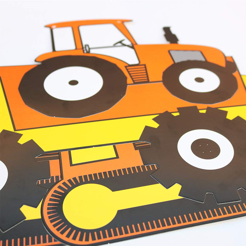 Construction Vehicle Happy Birthday Banner Round Garland with Balloons Boy Baby Shower Birthday Party Decorations