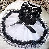 Eastlion Fashion and Lovely Black and White Shining Diamond Pet Dog Bowknot Wedding Party Dress M