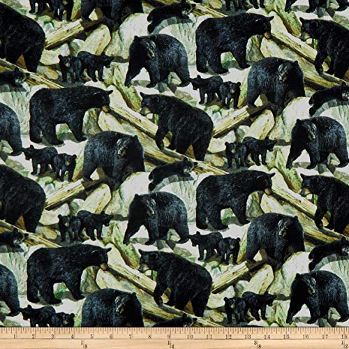 (Springs Creative Products Wild Wings Bear Essence Scenic Bears Fabric, Black, Fabric By The Yard)