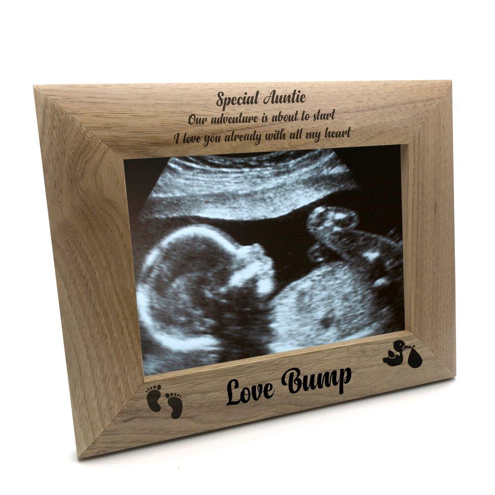 ukgiftstoreonline New Baby Pregnancy Scan Wooden Photo Frame Auntie Gift (4 x 6 Inch)