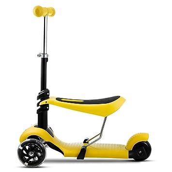 mymotto 2 en 1 Scooter Patinete para Niños con asiento de 3 ruedas Manillar Ajustable Altura Ajustable (Amarillo)