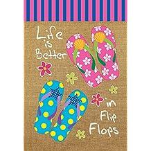 "Life is Better in Flip Flops Summer Garden Flag Nautical 12.5"" x 18"""