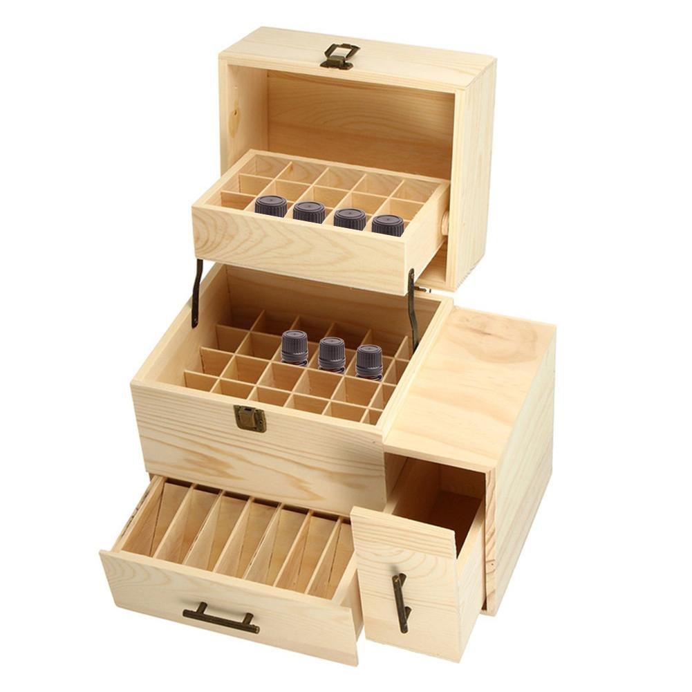 Starter Boîte à huile essentielle Boîte de rangement en bois Boîte de rangement pour huiles essentielles de haute qualité Idéale pour les bouteilles de 10 ml et de 15 ml . conception en couches