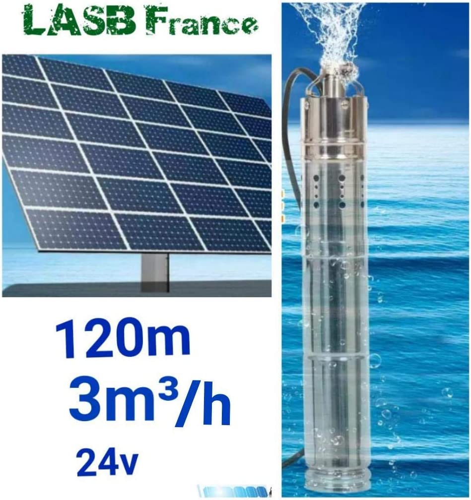 Bomba solar 24 V 3000 L/hora máx. 120 m de profundidad máx.