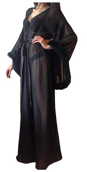 Amazon.com: Pijama largo con cuello de plumas, para mujer ...