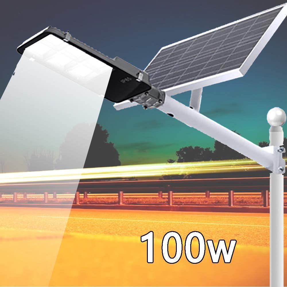 Rmckj-M 50-300W Luz Solar Exterior Jardin, Farola Solar LED Luces Solares Lámparas Solares De Control De Luz Inteligente A Prueba De Agua Al Aire Libre con Soporte De Pared Y Control Remoto,50W: