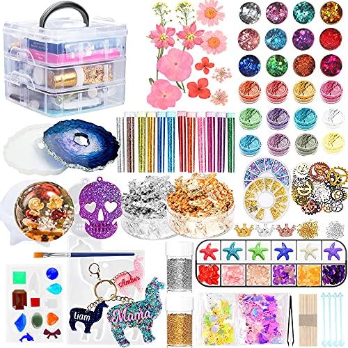 kit moldes p/ resina +glitter/pigmentos/accesorios 101pzs RO