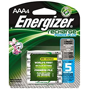 Energizer AAA Rechargeable Batteries, Power Plus 700 mAh Pre-Charged, (4 Count)