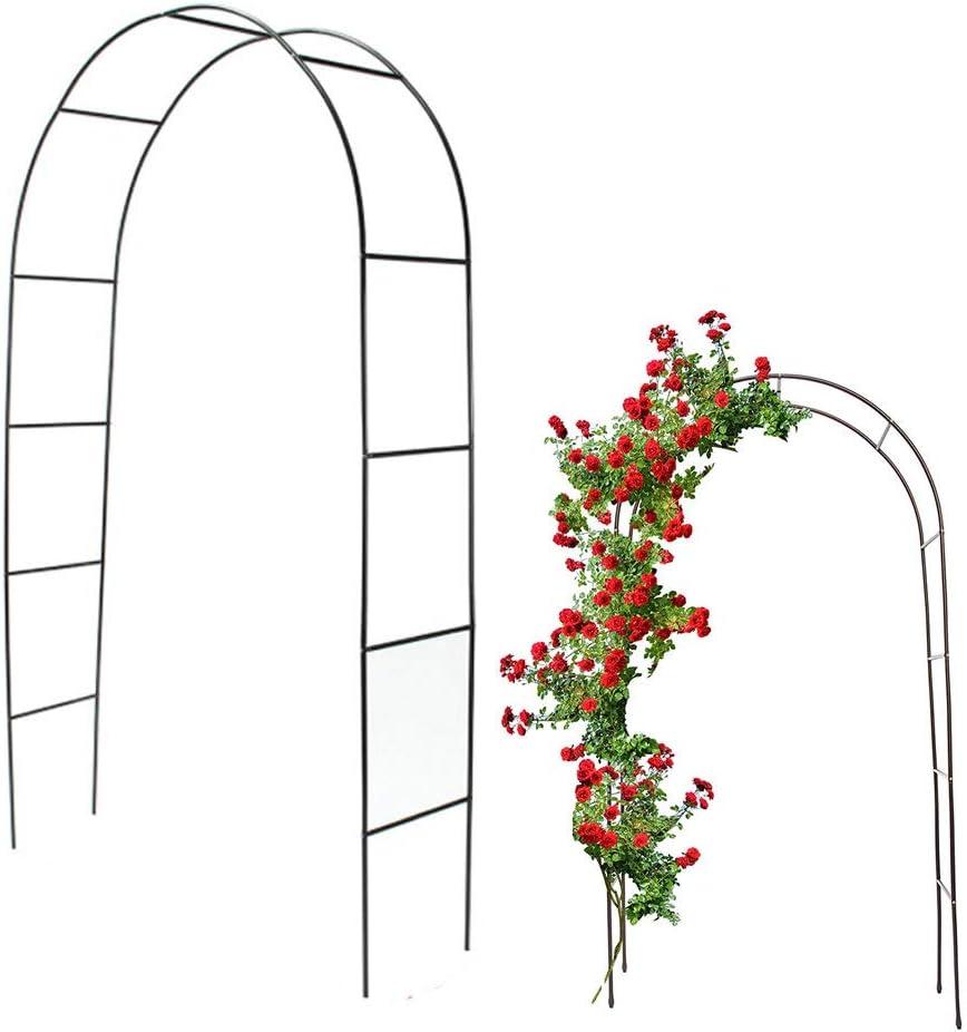 Garden Arch Frame Rose Flower Arch Frame Plant Climbing Archway Iron Weather-Proof Support Decoration for Wedding Garden Dark Green