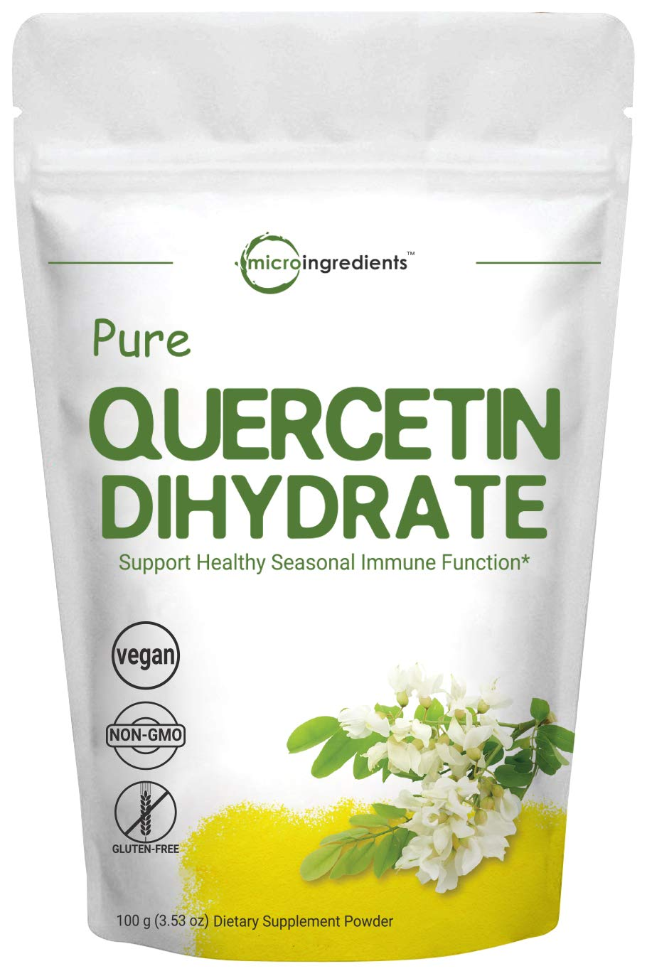 Maximum Strength Pure Quercetin Dihydrate Powder, 100 Gram, Powerfully Supports Energy, Immune Health and Antioxidant, No GMOs and Vegan Friendly by Micro Ingredients