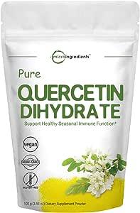 Maximum Strength Pure Quercetin Dihydrate Powder, 100 Gram, Quercetin Vitamins, Powerfully Supports Energy, Immune Health and Antioxidant, No GMOs and Vegan Friendly