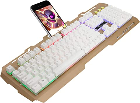 Lanker Teclados Cableados para Gamers - con RGB LED Retroiluminado, Panel De Metal y Soporte para Teléfono Celular para PC y Portátiles Gamers, Dorada
