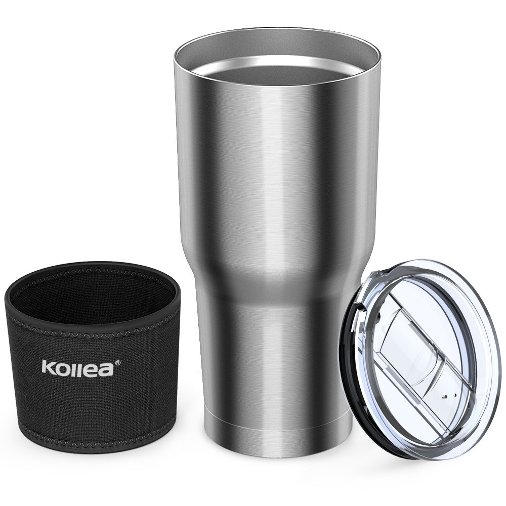 Kollea Insulated Stainless Steel Tumbler with Leak Proof Lid and Neoprene Sleeve, 30 oz