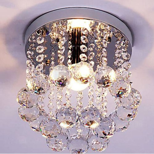Mini style 1 light flush mount crystal chandelier amazon mozeypictures
