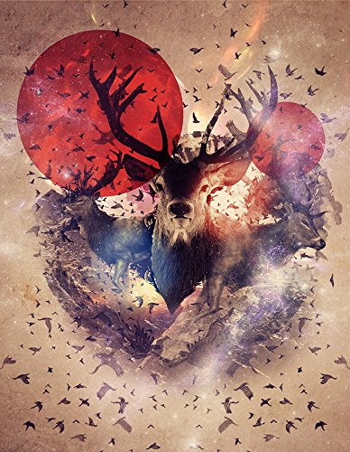 LB Wild Life Painting Canvas Wall Art Home Decorations, Circle of Life Reindeer Birds in Mountain, Framed Modern Giclee Artwork House Decor Ready to Hang - Bird Giclee Canvas